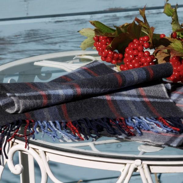 Herrenschal aus Wolle, blau kariert