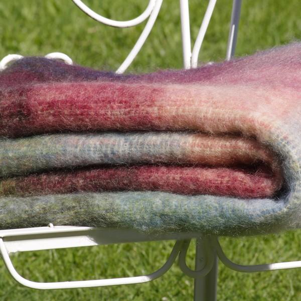 Mohairdecke, warme Farben
