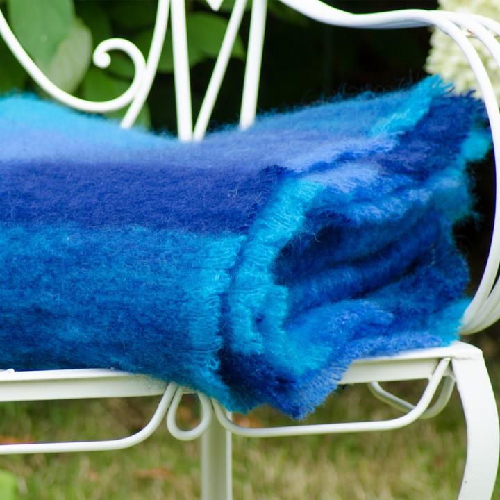Mohairdecke, kräftiges Blau