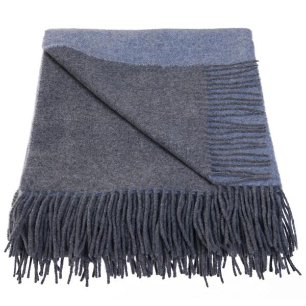 Wolldecke mit Kaschmir, Blau/Grau