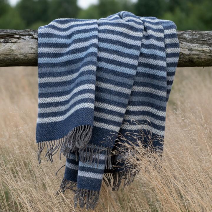 Blau-grau gestreifte Kuscheldecke
