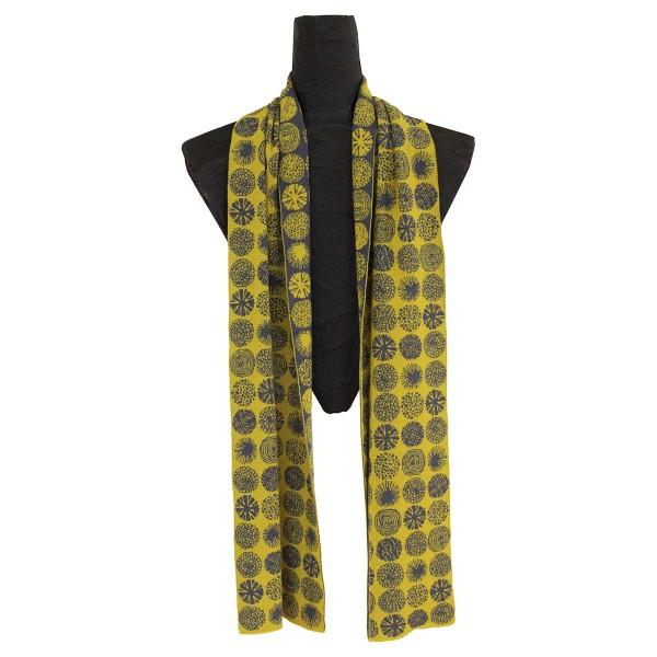 Gelb/Grüner Schal aus Merinowolle