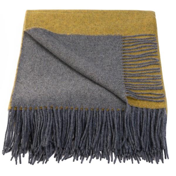 Wolldecke mit Kaschmir, Gelb/Grau