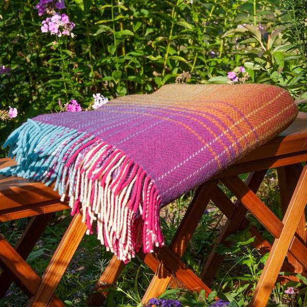 Bunte Wolldecke aus Merinowolle/Kaschmir